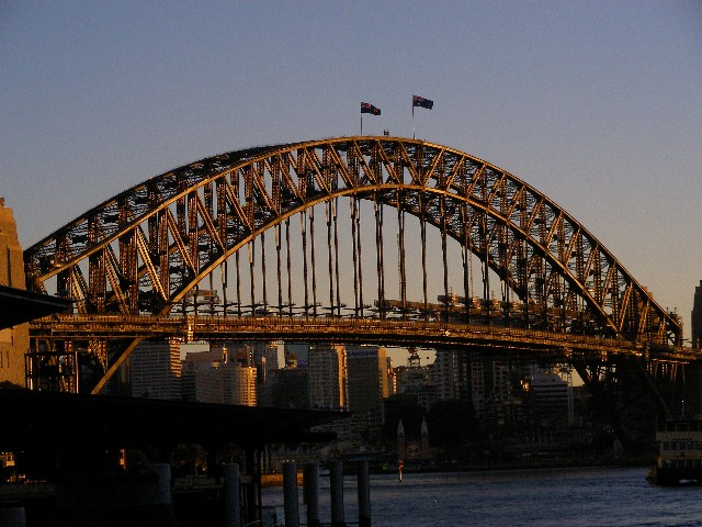 Sydney Harbor Bridge at sunrise.